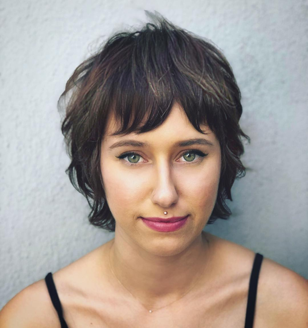 Shaggy Brunette Crop with Undone Texture and Fringe Bangs Short Hairstyle