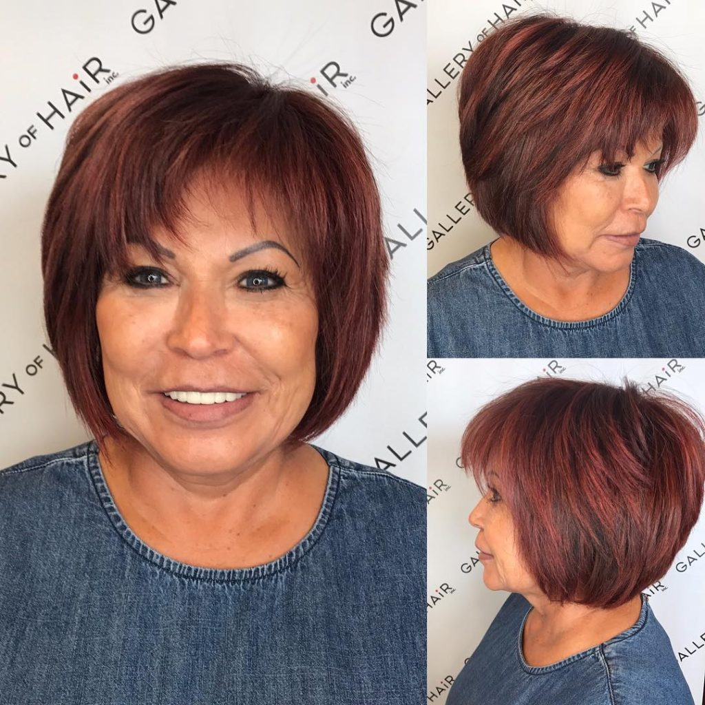 Shaggy Burgundy Bob with Feathered Bangs Short Hairstyle