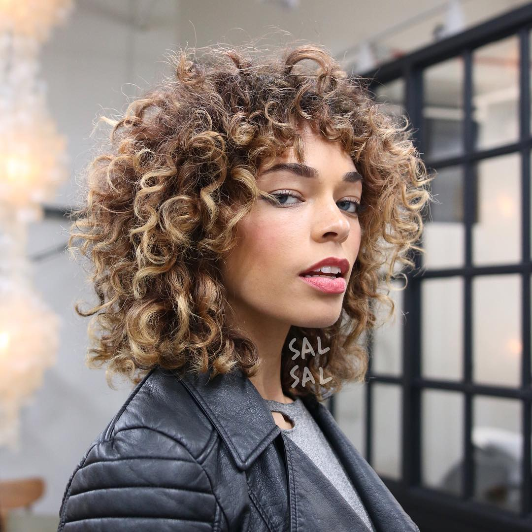 Shaggy Curly Fro with Bangs and Brunette Ombre Color Medium Length Hairstyle