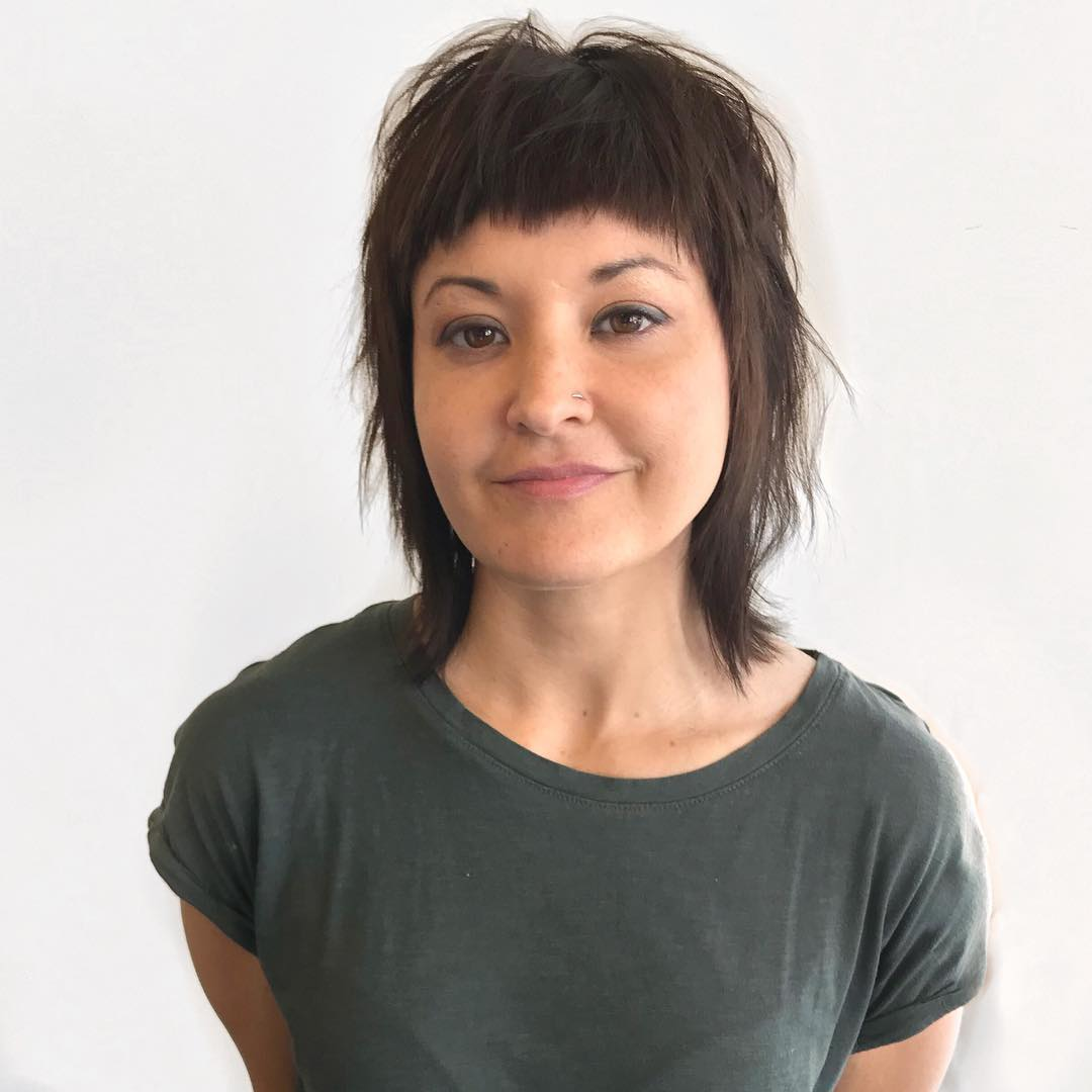 Shaggy Fringe Cut with Messy Straight Texture and Warm Brunette Color Medium Length Fall Hairstyle