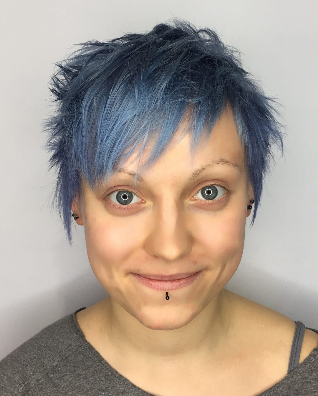 Shaggy Pixie with Messy Texture and Blue Color Short Hairstyle