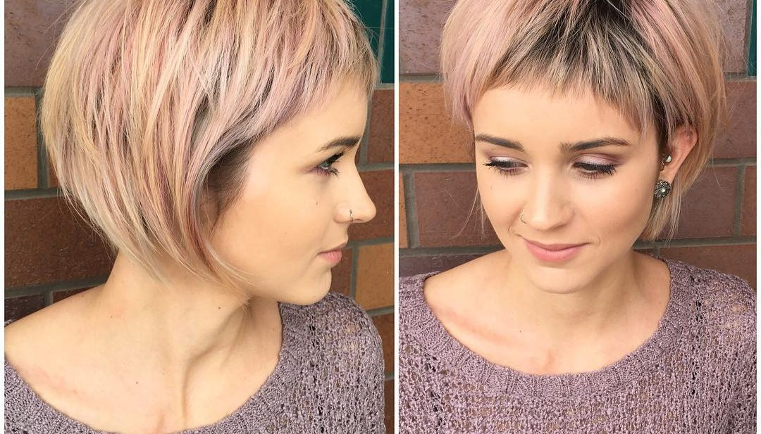 Shaggy Rose Gold Bob with Micro Fringe Bangs and Blonde Highlights Short Hairstyle