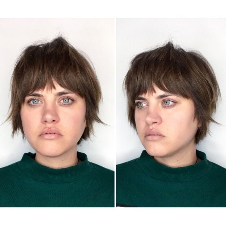 Short Brunette Shaggy Bob with Bangs and Undone Texture Short Hairstyle