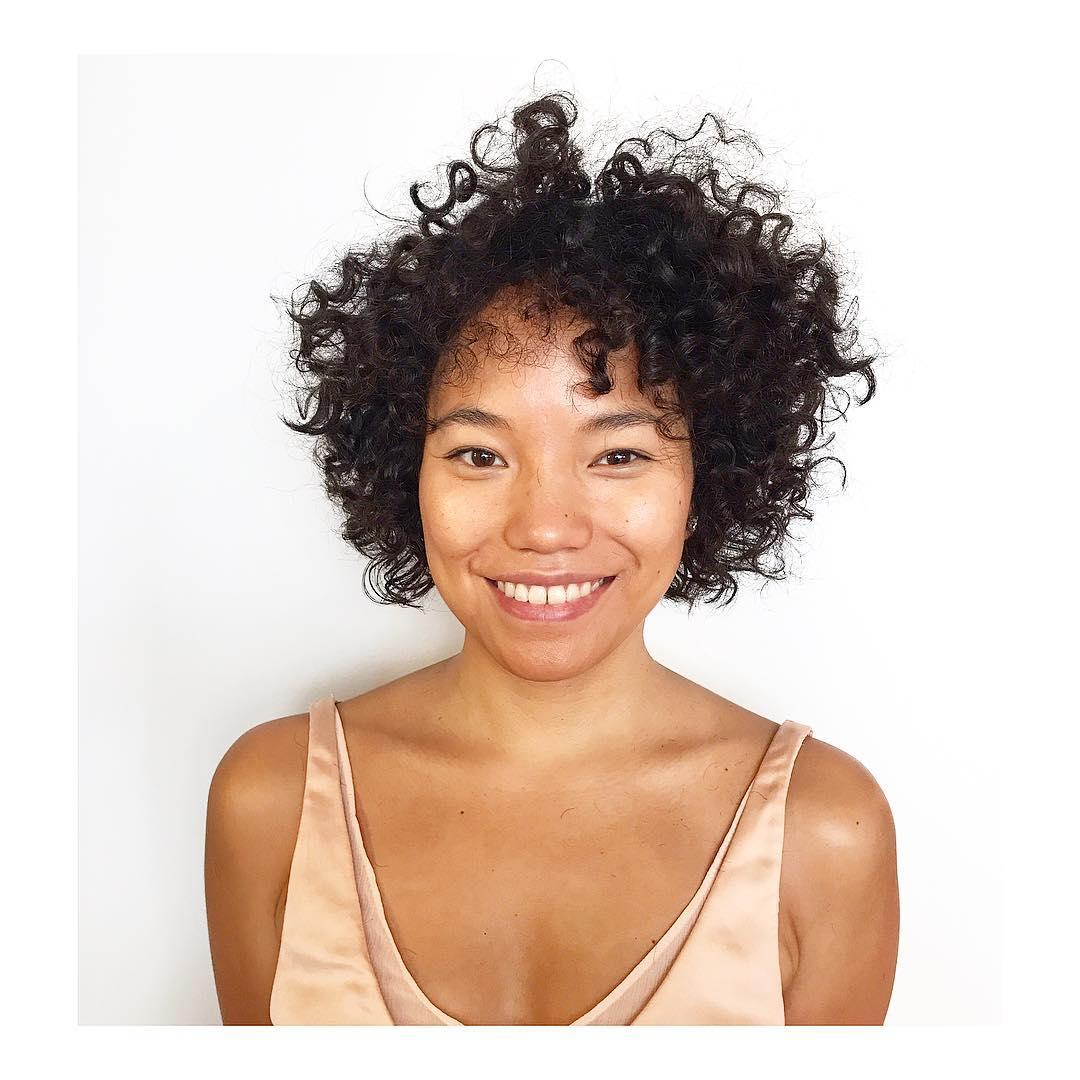 Short Brunette Textured Bob with Undone Spiral Curls Short Hairstyle