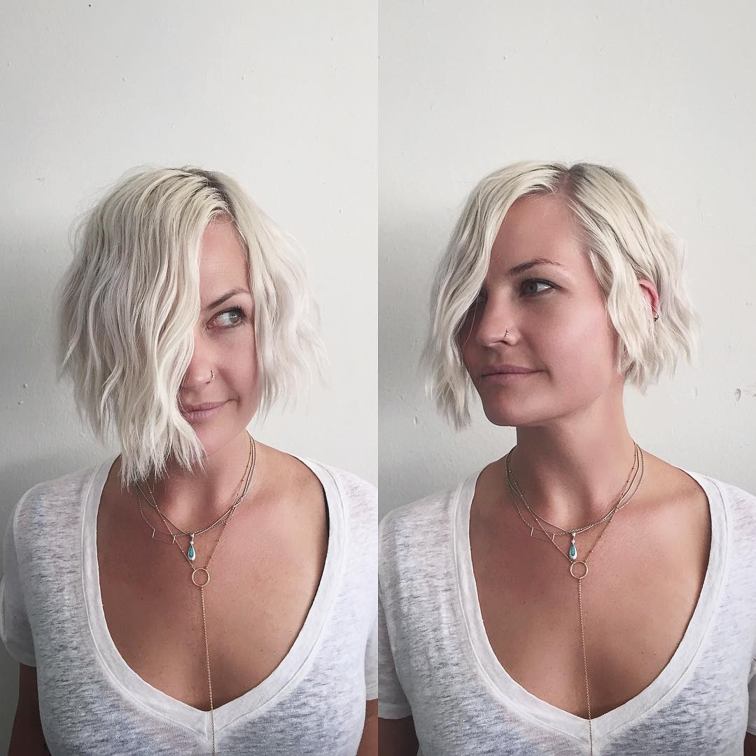 Short Platinum Bob with Soft Wavy Texture and Side Part - The Latest Hairstyles for Men and ...