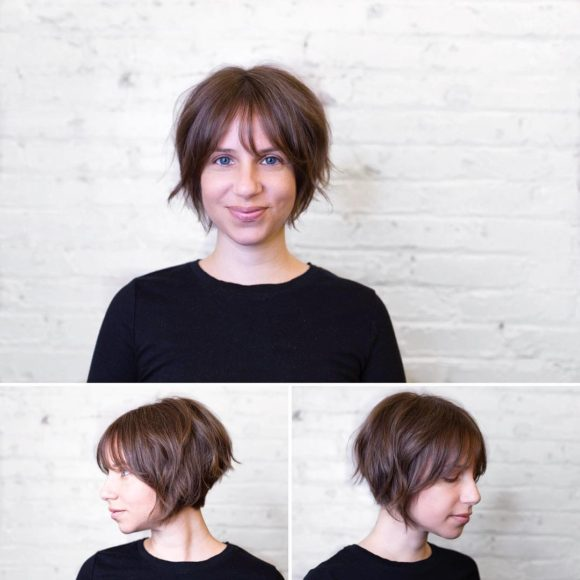 Short Shaggy Stacked Bob with Messy Beach Texture and Fringe Bangs with Light Chocolate Brown Color Summer Short Hairstyle