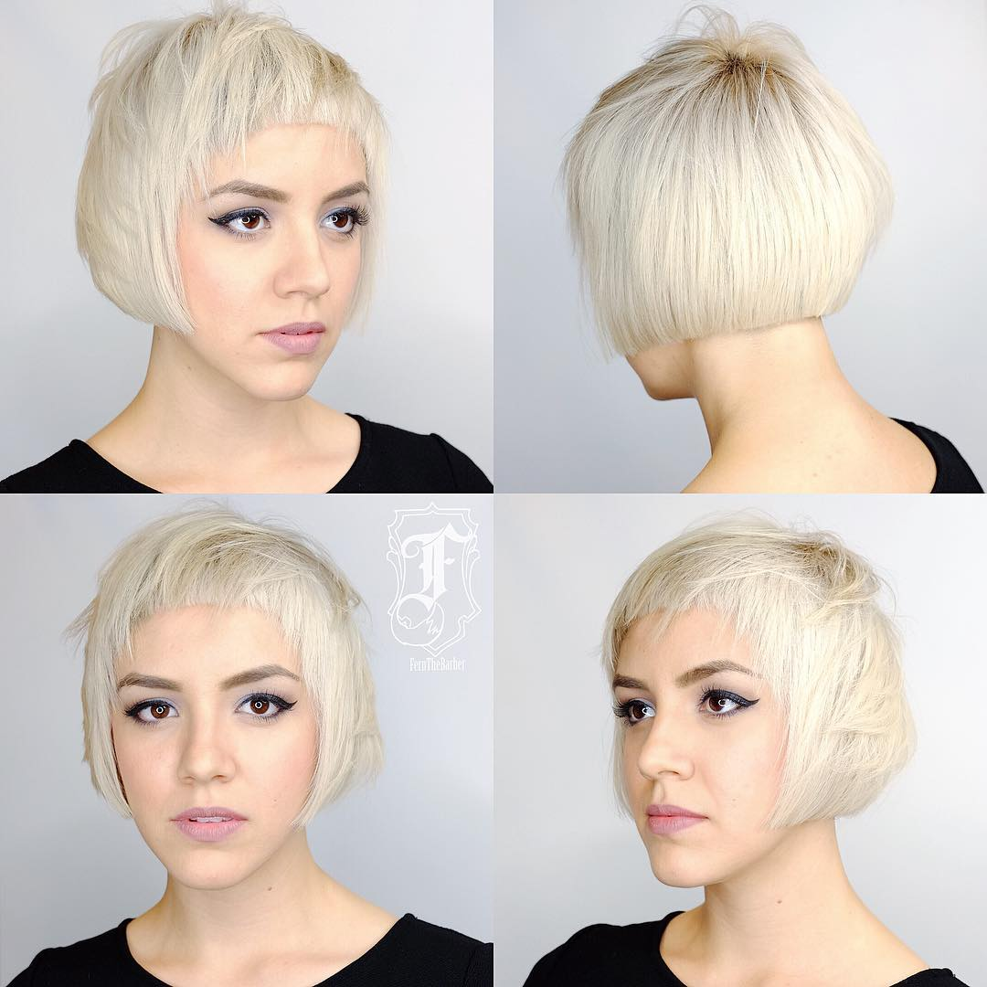 Short Textured Bob with Blunt Edges and Platinum Color Short Hairstyle