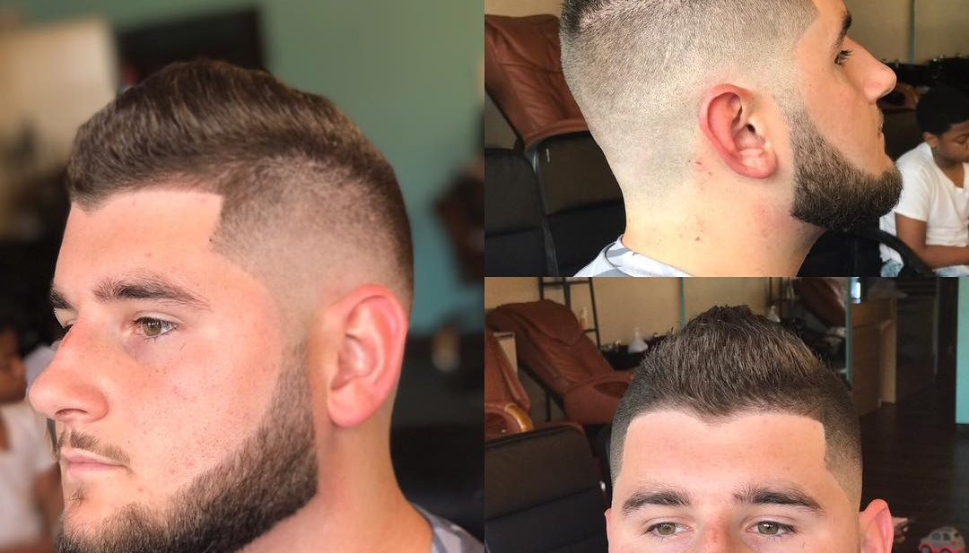 Short Textured Faux Hawk with Fade and Beard