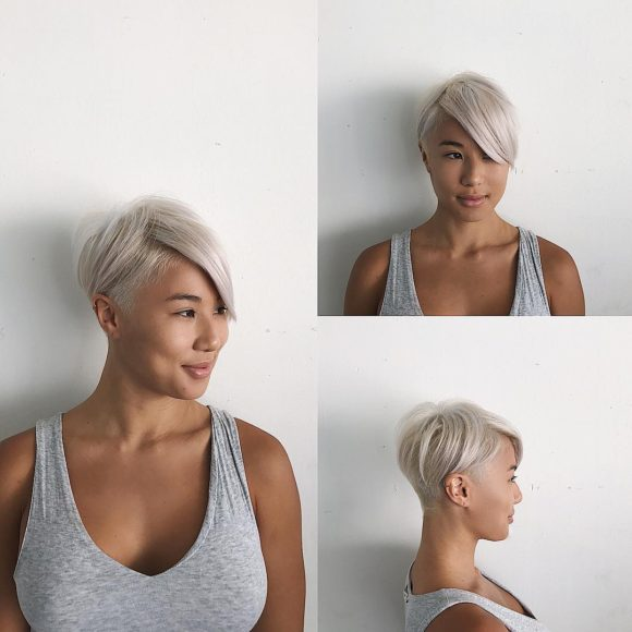 Short Textured Undercut with Long Side Swept Bangs and Platinum Color Short Hairstyle