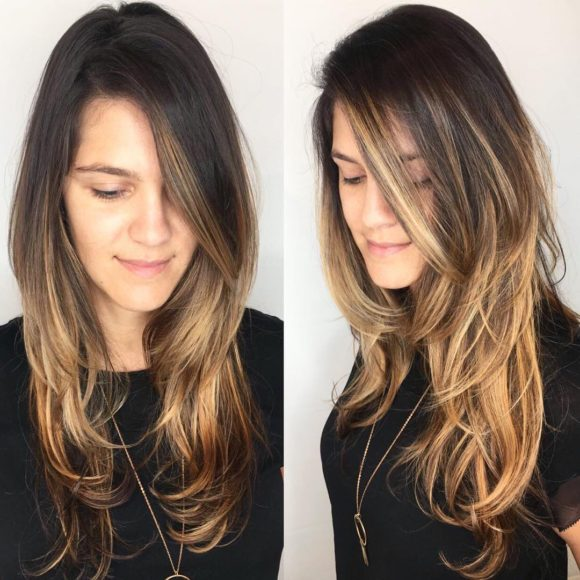 Side Parted Shaggy Razor Cut with Face Framing Layers and Brunette Balayage Long Hairstyle