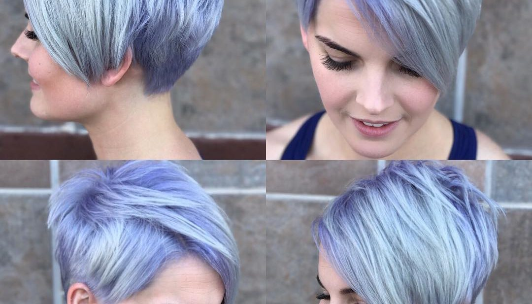 Silver Asymmetrical Pixie with Side Swept Bangs and Purple Shadow Roots Short Hairstyle