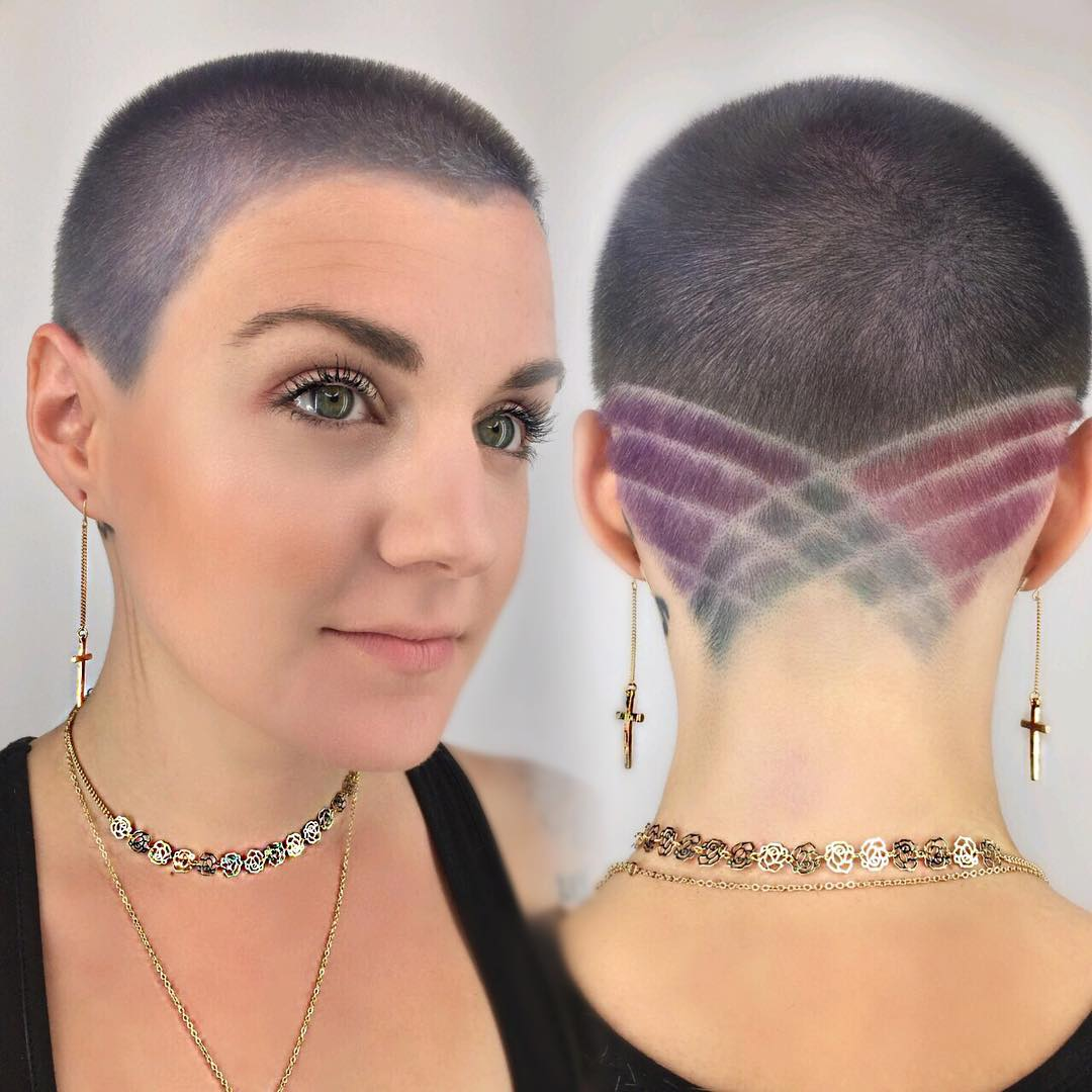 Silver Buzz Cut with Pastel Colored Shave Art and Lines Short Hairstyle