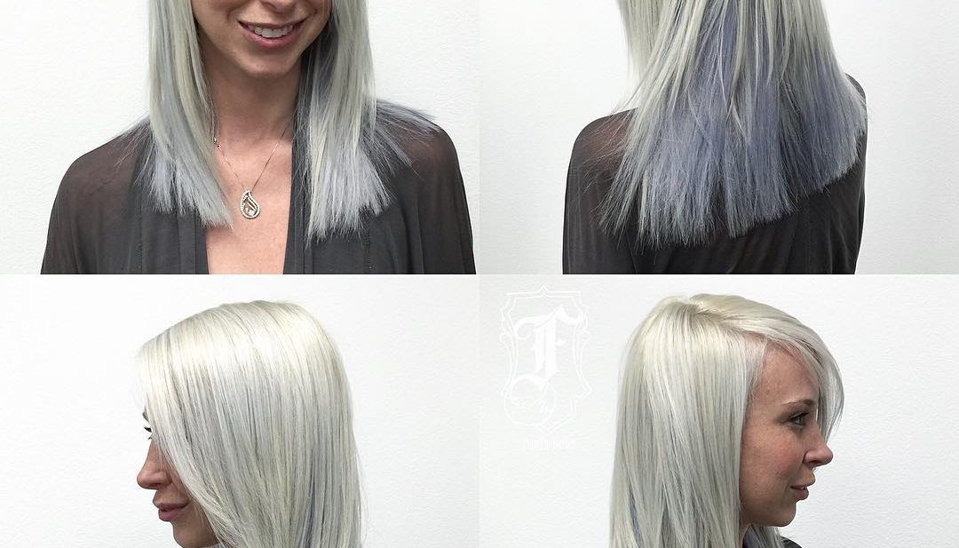 Silver Two Toned Layered Cut with Clean Blunt Lines and Side Swept Bangs Medium Length Hairstyle