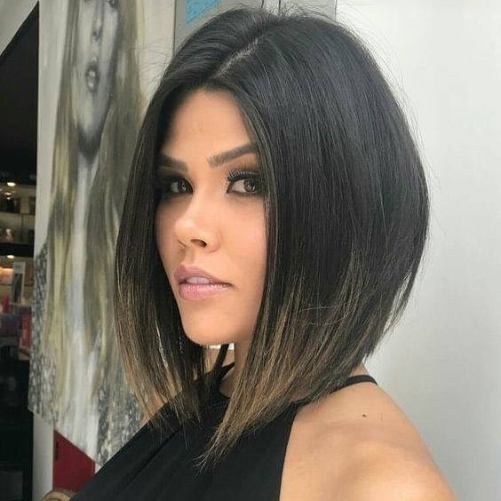 Sleek Angled Lob with Seamless Layers and Dark Brunette Color with Light Brown Ombre Ends Medium Length Hairstyles
