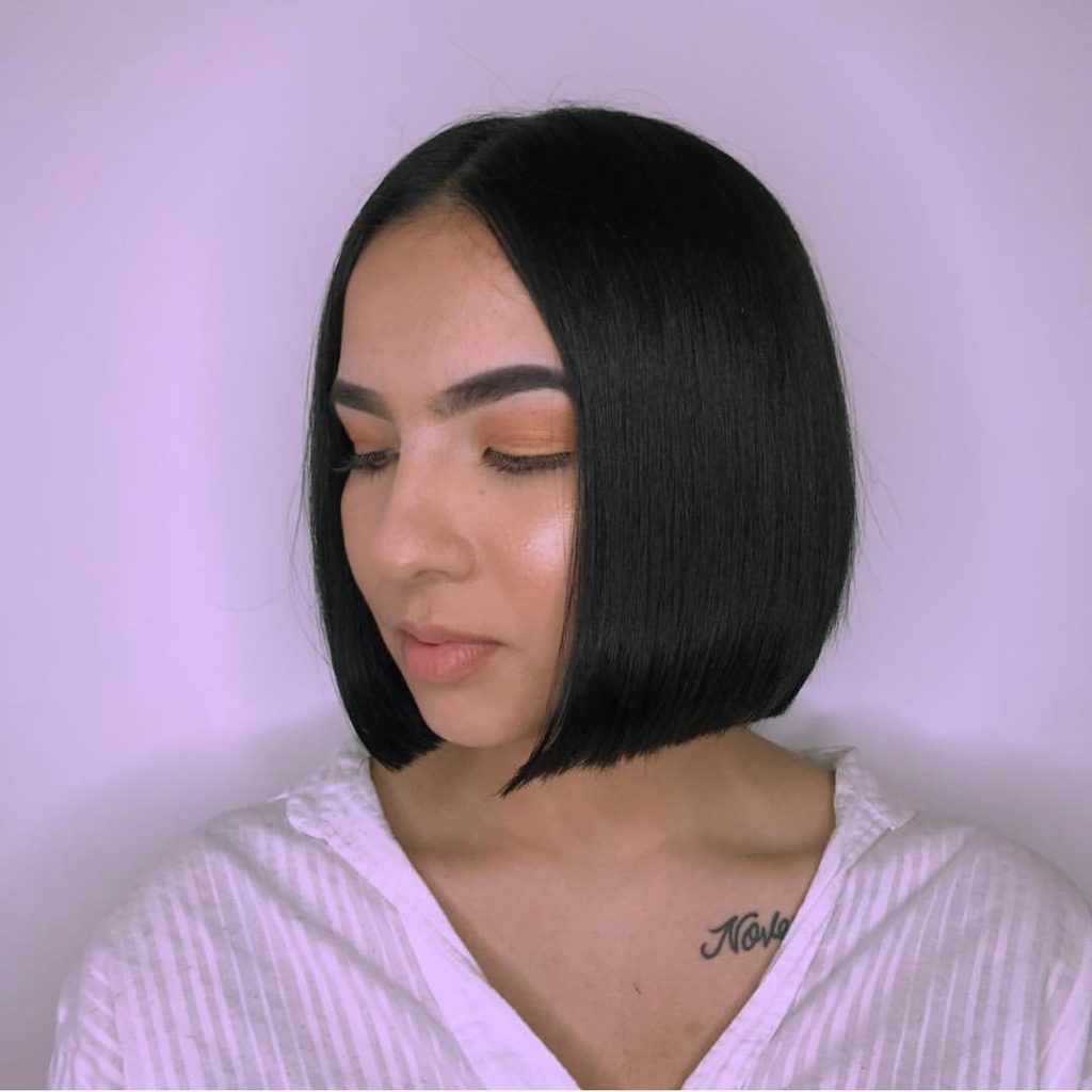 Sleek Blunt Bob with Center Part and Black Color Short Hairstyle