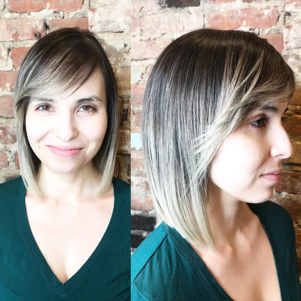 Sleek Classic Bob with Flipped Side Swept Bangs and Ash Brown to Blonde Color Melt Medium Length Hairstyle