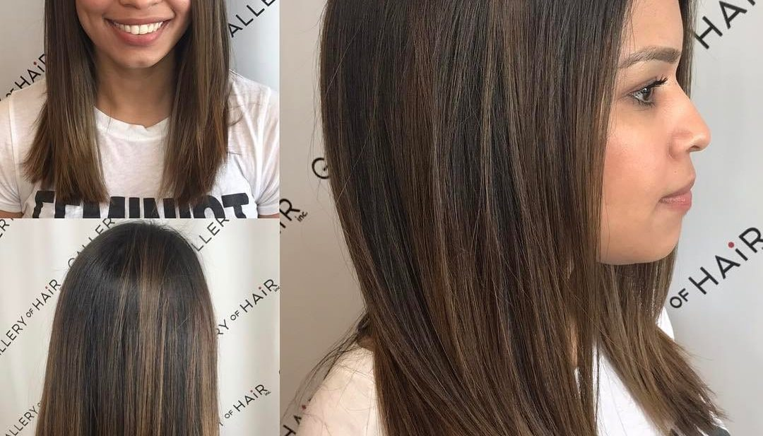 Sleek Cut with Subtle Layers and Brunette Balayage Medium Length Hairstyle