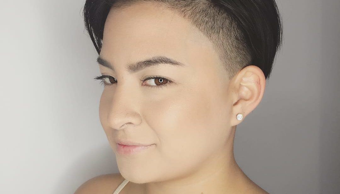 Sleek Edgy Undercut Pixie on Dark Hair Short Hairstyle