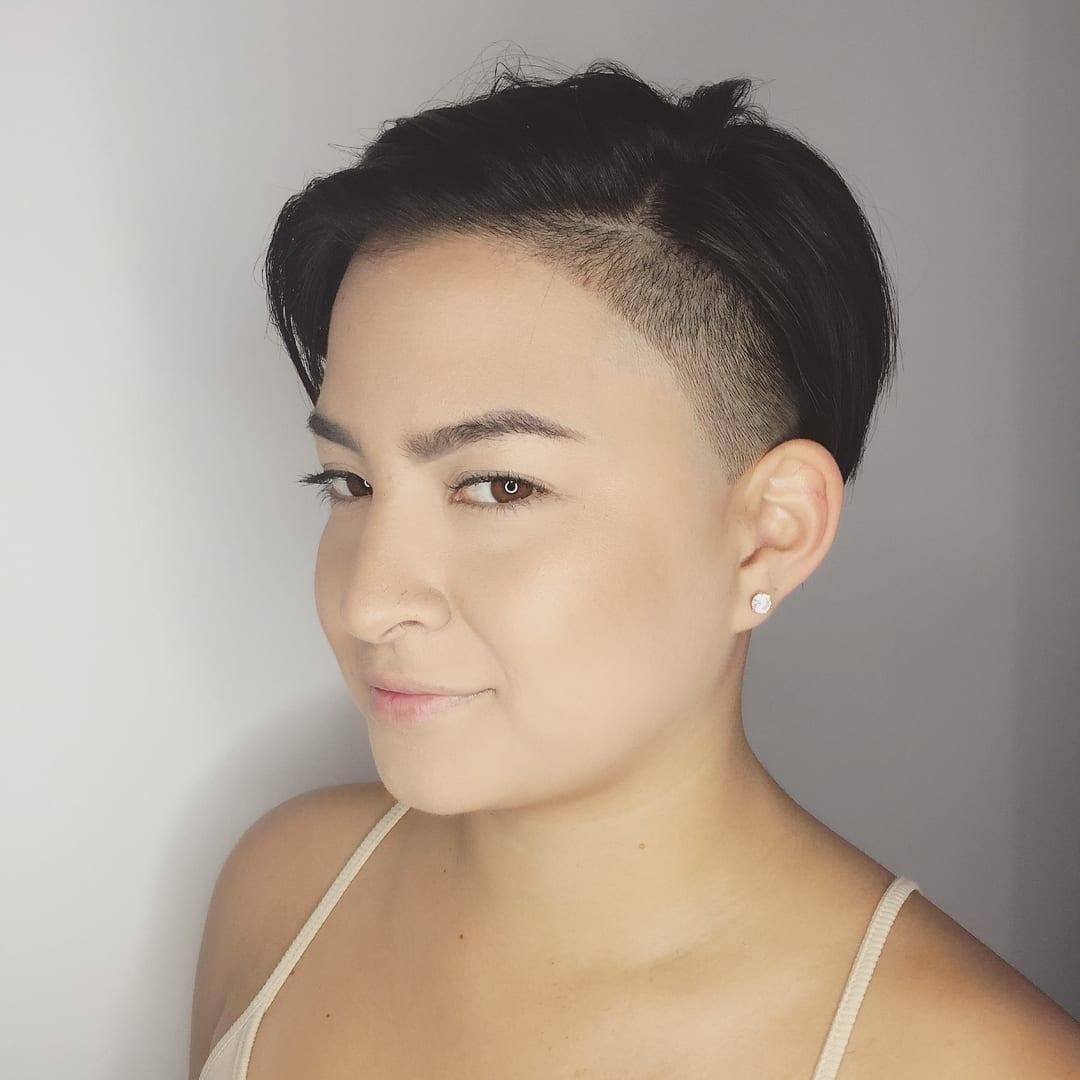 Sleek Edgy Undercut Pixie on Dark Hair Short Hairstyle