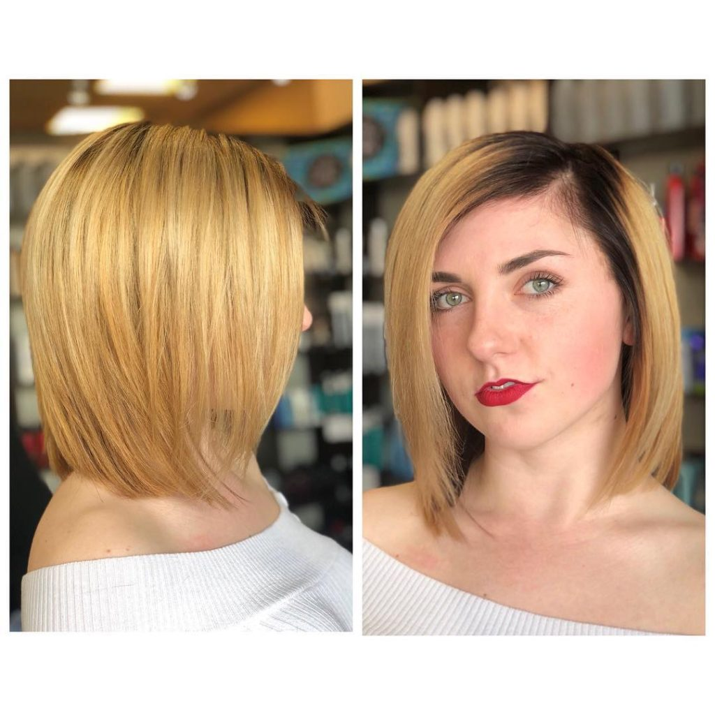 Sleek Golden Blonde Bob with Soft Layers and Brunette Shadow Roots Medium Length Hairstyle