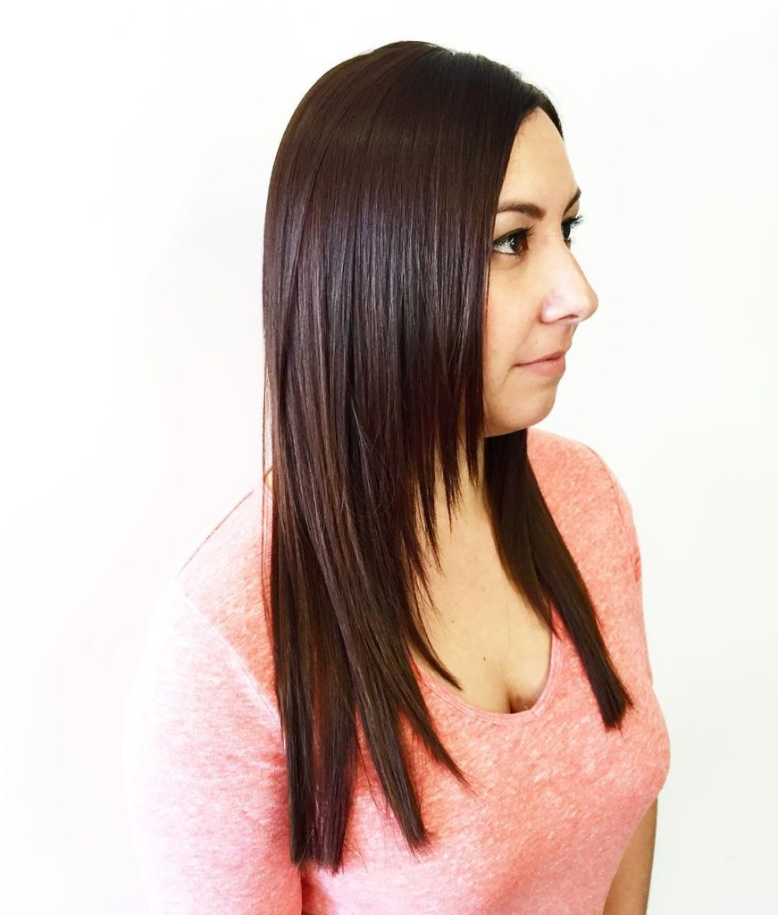 Sleek Razor Cut Layered Hair with Warm Brunette Color Long Hairstyle