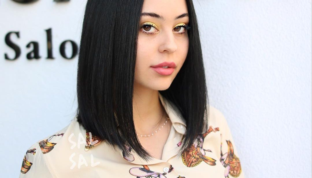 Sleek and Sexy Black Lob with Textured Ends and Center Part Medium Length Hairstyle