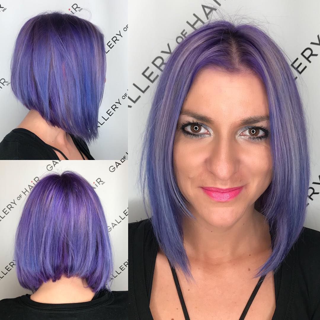 Slightly Angled Bob with Face Framing Layers and Purple Color with Silver Highlights Medium Length Hairstyle