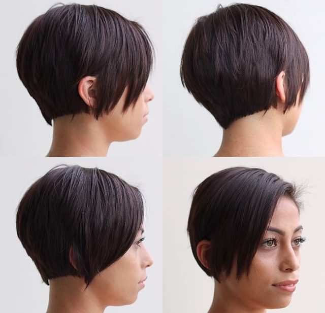 Slightly Graduated Side Swept Pixie with Clean Lines and Warm Brunette Color Short Hairstyle