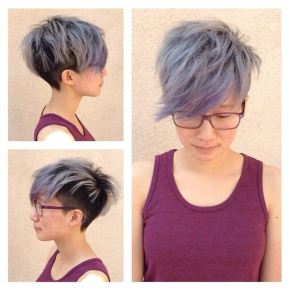 Smoky Biased Undercut with Shaggy Fringe and Side Swept Bangs Short Hairstyle