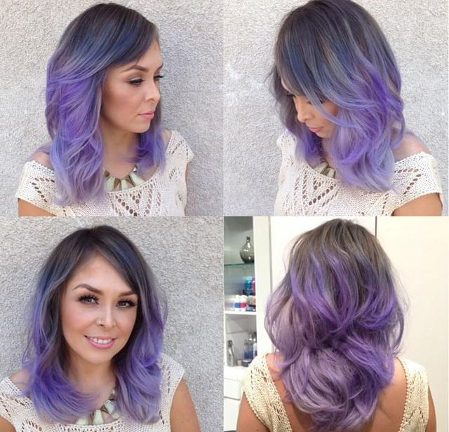 Smoky Lavender Ombre on Lob with Razor Cut Layers and Blowout Texture Medium Length Hairstyle