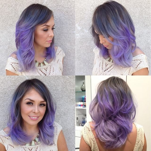 SmokyLavenderOmbre on Lob with Razor Cut Layers and Blowout Texture Medium Length Hairstyle