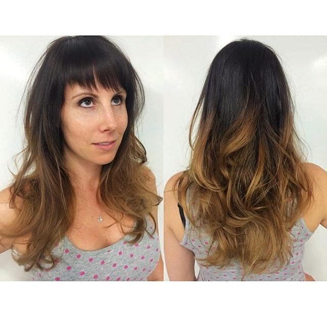 Soft Blowout Waves on Layered Razor Cut with Fringe Bangs and Brunette Ombre Long Hairstyle