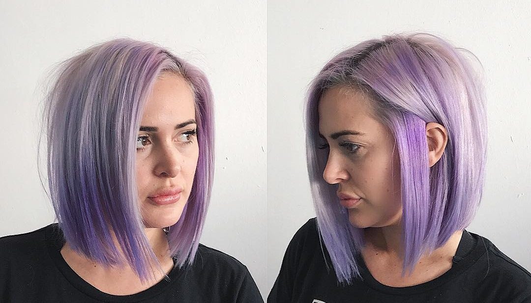 Soft Blunt Bob with Texture and Icy Lilac Color Medium Length Hairstyle
