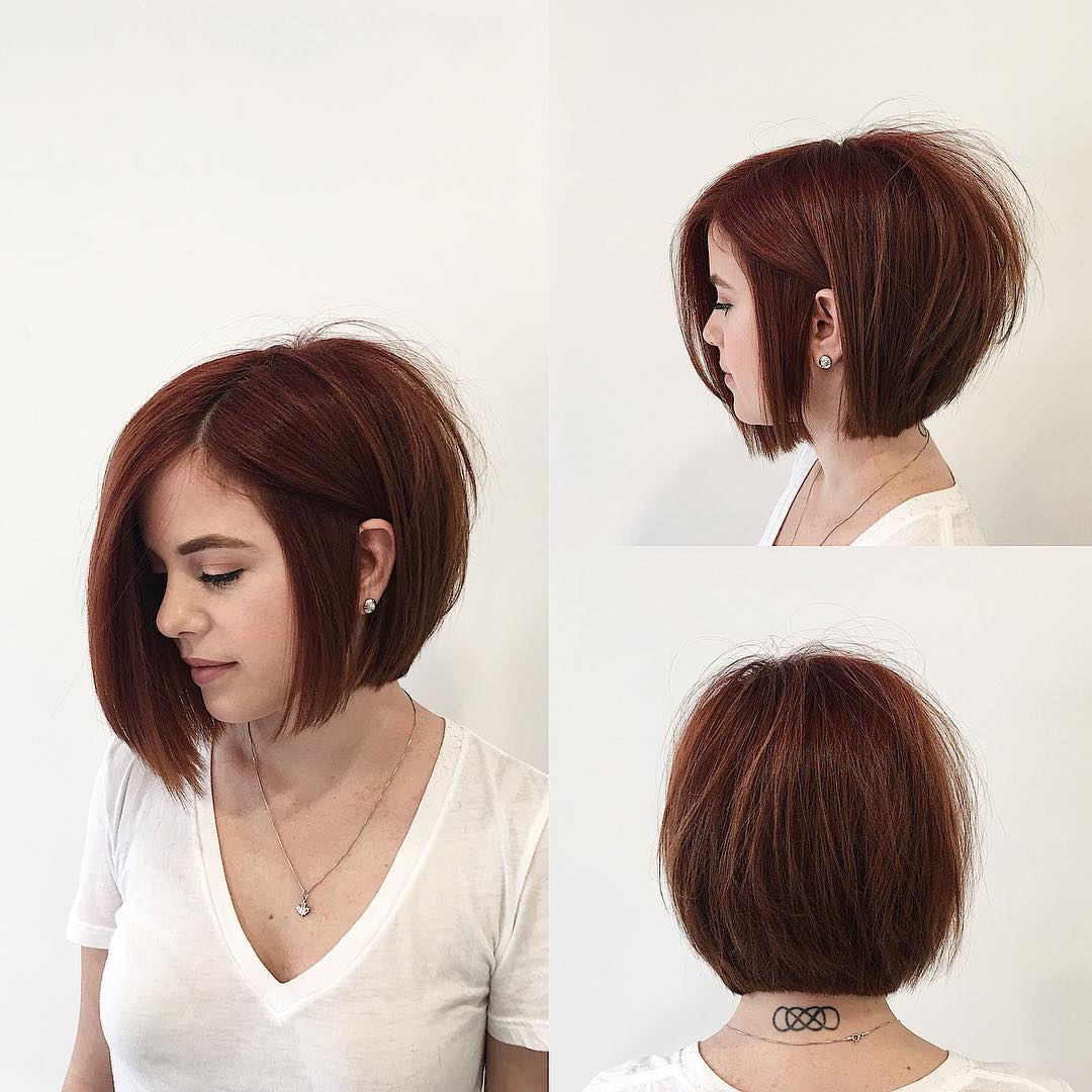 Soft Graduated Bob with Clean Lines and Warm Brunette Color Short Hairstyle