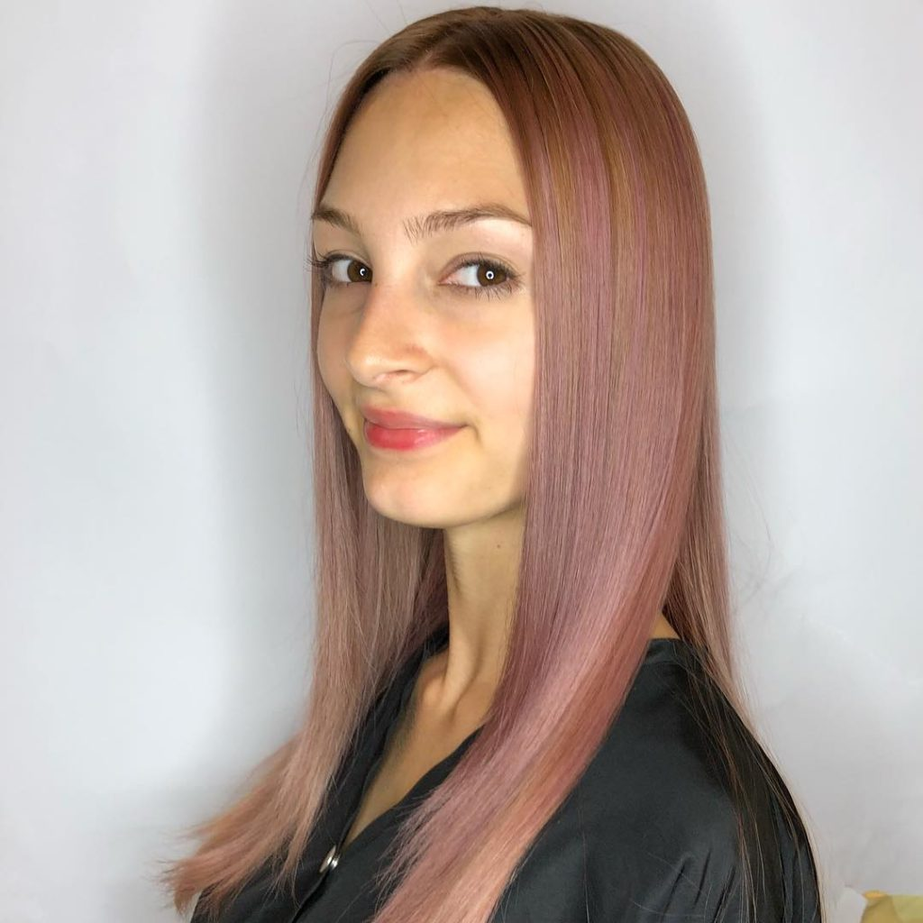 Soft Layered Cut with Sleek Styling and Rose Gold Balayage Color Long Summer Hairstyle