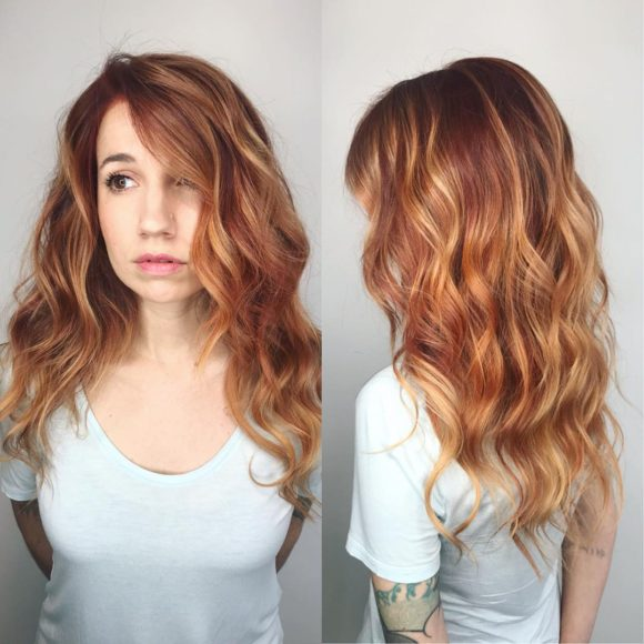 Soft Layered Cut with Textured Waves and Copper Balayage Long Hairstyle