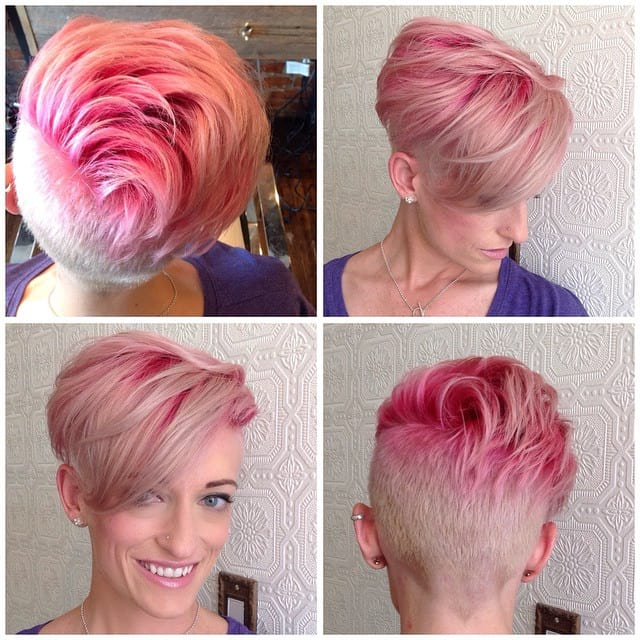 Soft Pink Undercut with Undone Textured Lengths and Bright Pink Shadow Roots Short Hairstyle
