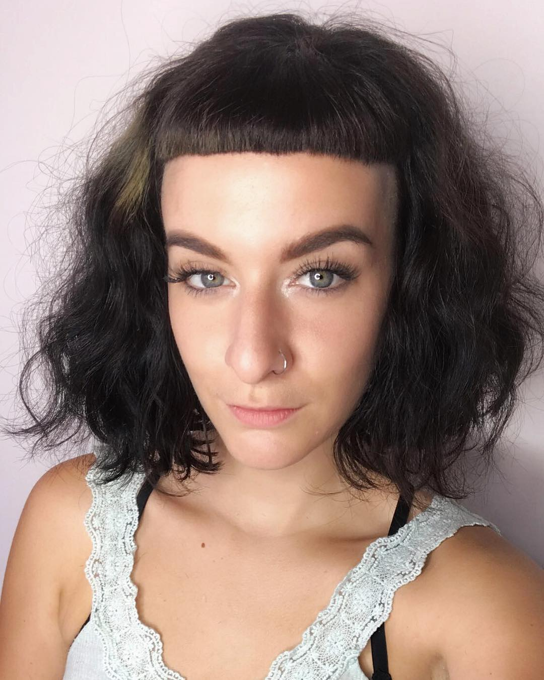 Soft Wavy Fringe Bob with Micro Bangs and Brunette Color Medium Length Hairstyle