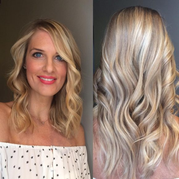 Soft Wavy Textured Cut with Short Layers and Blonde Colormelt Medium Length Hairstyle