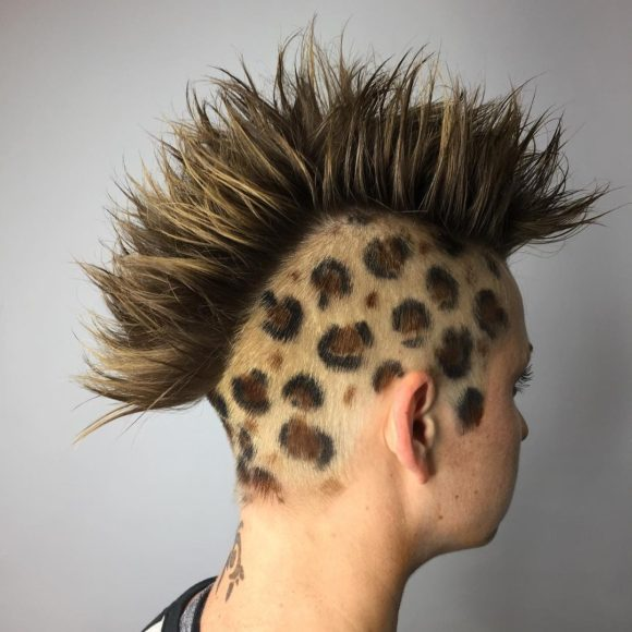 Spiked Messy Textured Mohawk with Hand Painted Brown Color and Leopard Spots Side Art Eccentric Punk Halloween Hairstyle