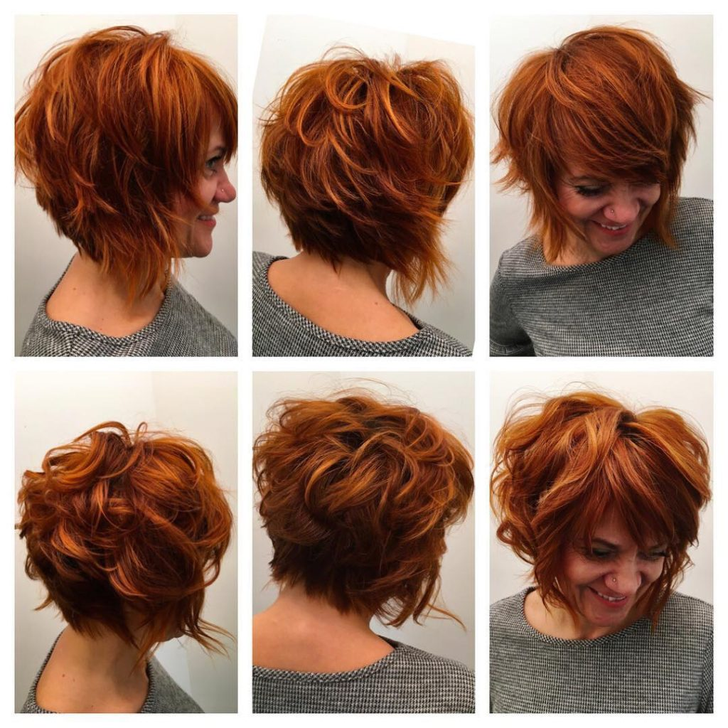 Stacked Angled Bob with Undone Shaggy Texture and Fiery Copper Red Color Short Hairstyle