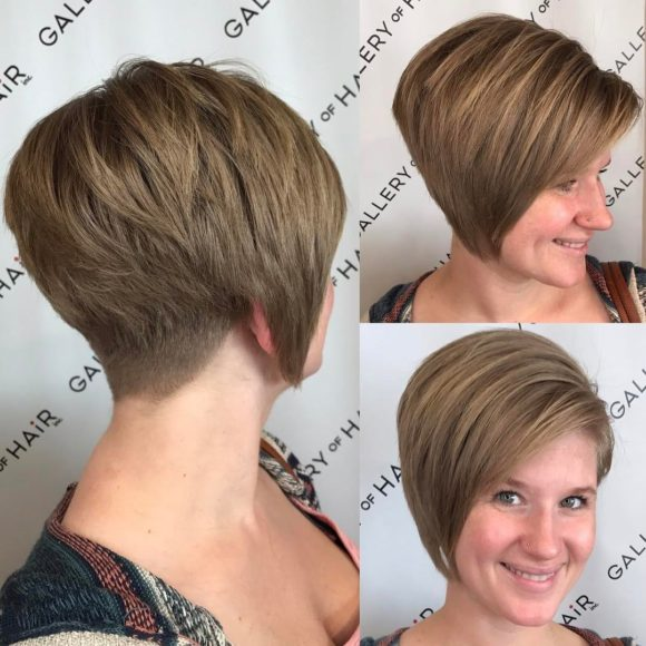 Stacked Asymmetrical Bob with Side Swept Bangs and Tapered Nape Short Hairstyle