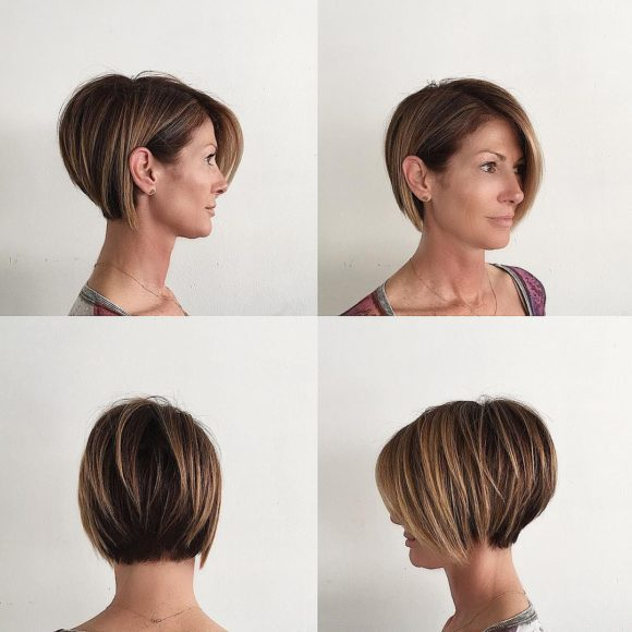 Stacked Layered Bob with Long Side Swept Bangs and Brunette Color with Highlights Short Hairstyle