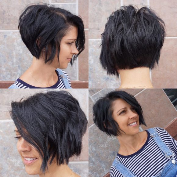 Stacked Textured Wavy Bob with Black Color Short Hairstyle