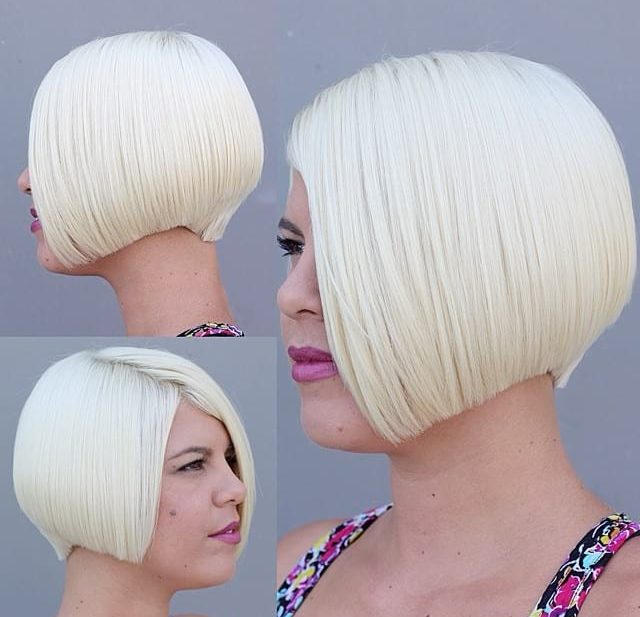 Stunning Platinum Graduated Precision Cut Bob with Nape Detail Short Hairstyle