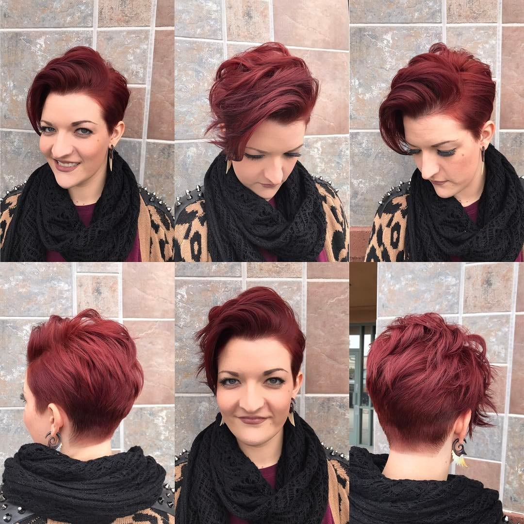 Stylish Burgundy Stacked Pixie with Long Textured Top Fringe Short Hairstyle