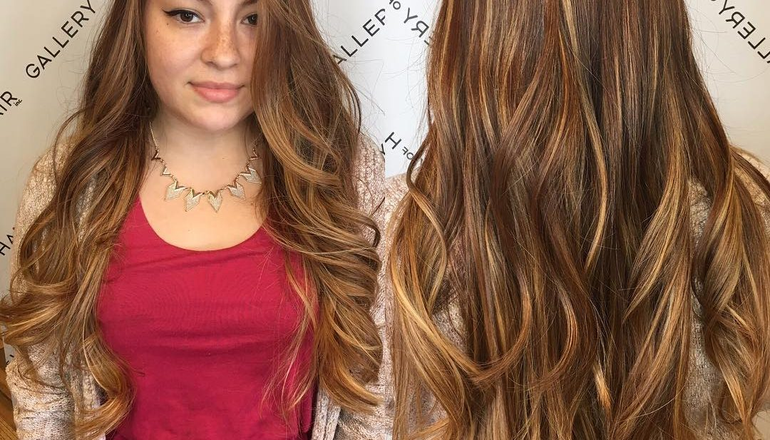 Super Long Wavy Layered Cut with Warm Bronde Balayage Color Long Hairstyle