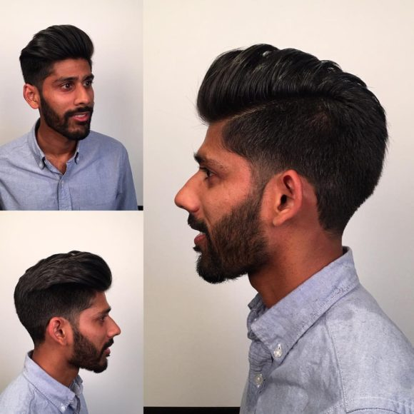 Tapered Temple Fade with Subtle Disconnected Side Part and Blowout Textured Top Lengths Fall Hairstyle