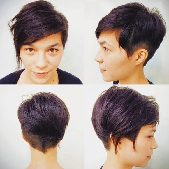 Textured Asymmetric Crop with Tapered Nape and Dark Burgundy Color Short Hairstyle