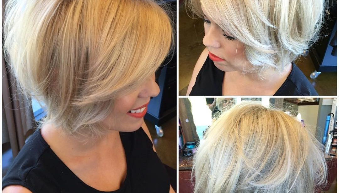 Textured Blonde Blowout Bob with Body and Volume Short Hairstyle